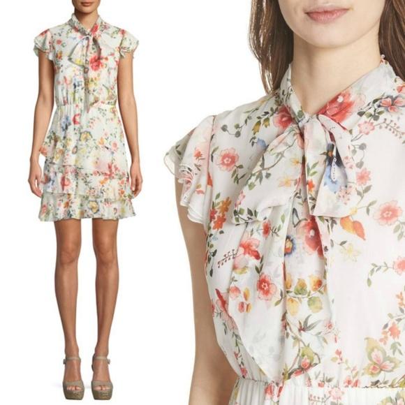 e4c7768f2b6 Alice + Olivia Dresses   Skirts - New ALICE + OLIVIA Lessie Floral Tie Neck  Dress